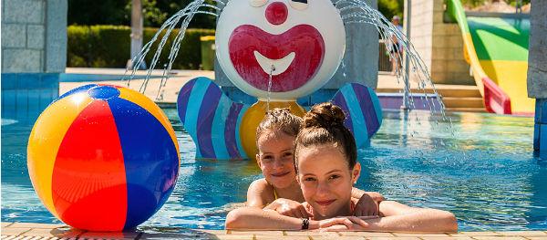 Campsite Terme Putj; lots of water fun for kids.