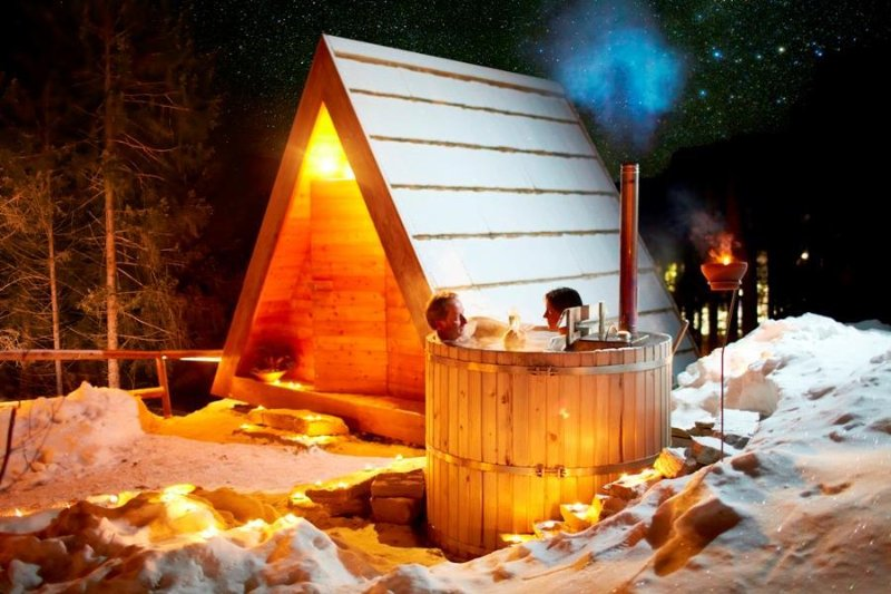 Relaxing together in your own hot tub – still a marvellous option even in cold weather.
